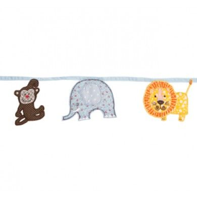 Cute fabric jungle animal bunting featuring 9 cute animal shapes (3 each of monkey, lion and elephant).