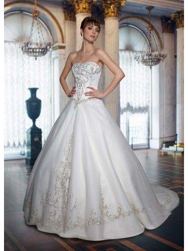 Satin Strapless Straight Neckline Embroidered Bodice Ball Gown Wedding Dress
