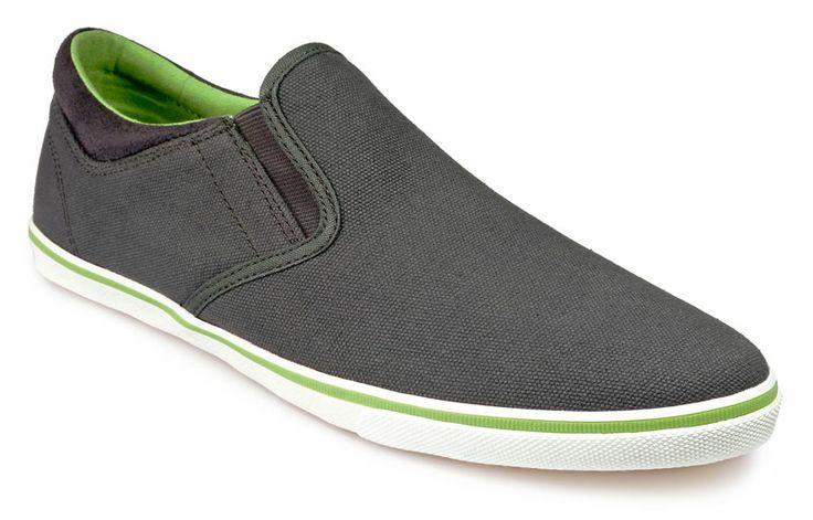 Men's Summer slip-on canvas shoes - Pod Footwear Jetty in Grey/Lime.