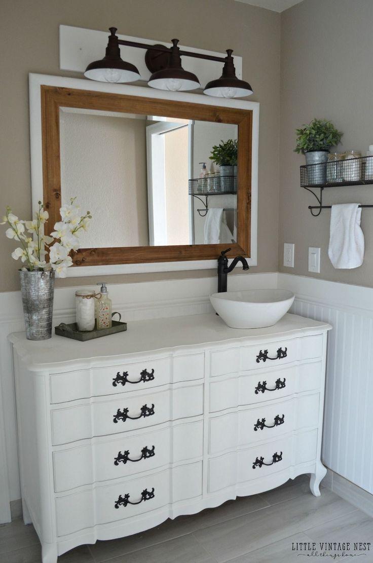 Dresser vanity for bathroom - Farmhouse Master Bathroom Reveal Dresser Vanity