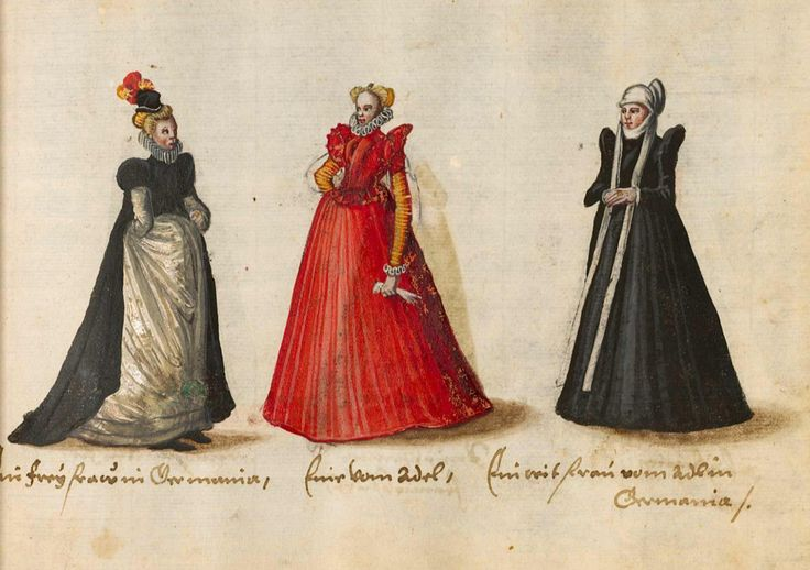 Mediaeval costumes of women in the cities and regions of Italy, France, England, Flanders, the Netherlands, and Brabant. From 'Kostüme und Sittenbilder des 16. Jahrhunderts aus West- und Osteuropa, Orient, der Neuen Welt und Afrika' ('Costumes and Genre Pictures of the 16th Century from Western and Eastern Europe, the Orient, the Americas, and Africa'), 1560-70, published in Augsburg? For more: http://www.universalcompendium.com/gen_images/ucg/clothing/kostume/000costumes.htm