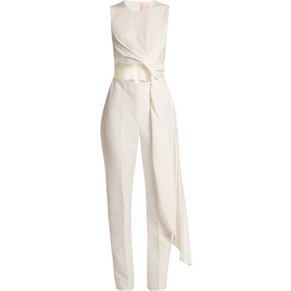 Roksanda Thurloe cut-out knot-front crepe jumpsuit ($1,955) ❤ liked on Polyvore featuring jumpsuits, evening jumpsuits, crepe jumpsuit, white cut out jumpsuit, slim leg jumpsuit and cocktail jumpsuit