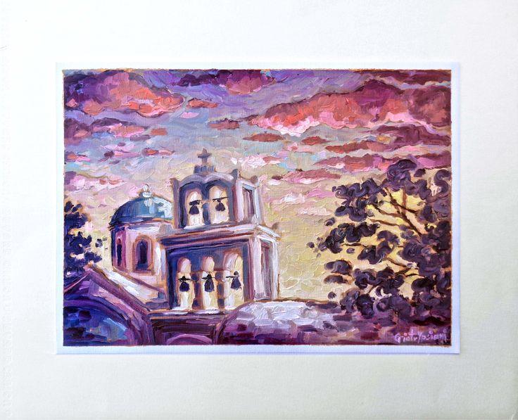 Walk with Mandara to Panagia Surtuko / Βόλτα με τη Μαντάρα στην Παναγιά Σουρτούκο - Oil on canvas,  29cm x 35cm #Santorini #sunset