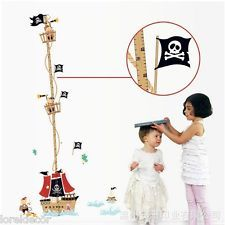 Medidor infantil barco pirata. No se pierda el crecimiento casi diario de sus hijos,¡sorprendales con este pegatina decorativa!