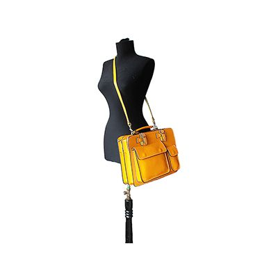 Ladies Yellow Italian Leather Briefcase/Work Bag(Medium Size) - RRP £74.99, our price - £49.99