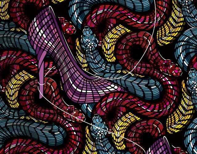 Pattern Snakes Shoes Stained glass mosaic, Illustration