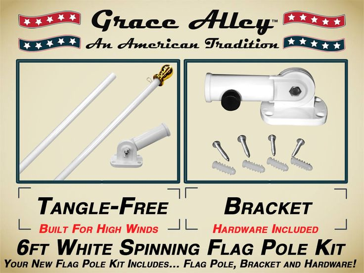 Flag Pole Kit: Outdoor Flag Pole Kit includes Tangle Free Spinning Flagpole and Flagpole bracket White
