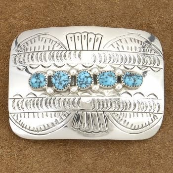 Genuine Sleeping Beauty Turquoise Traditional Silver Belt Buckle Signed