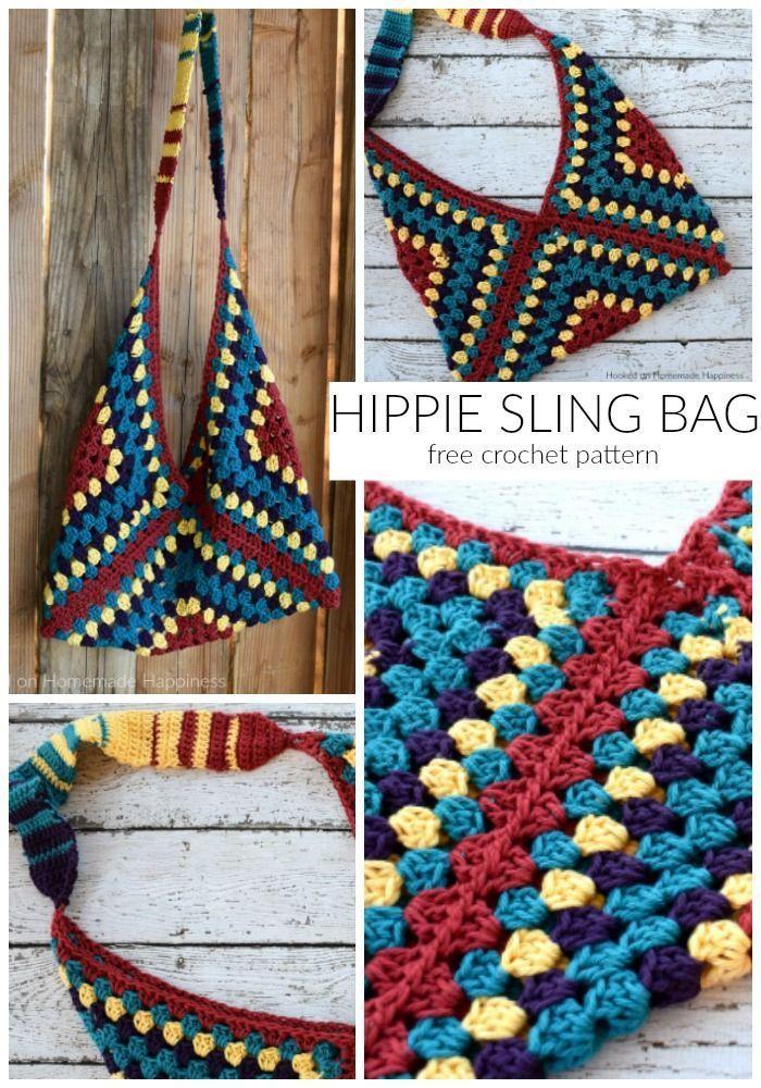 Hippie Sling Crochet Bag Pattern Crochet Bags Baskets