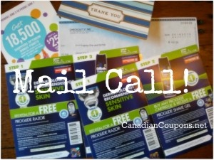 It was a box full of my fav things, today!  A thoughtful note from a cousin (handwritten, taboot), a rebate cheque, a points perks at Shoppers Drug Mart and 4 coupons for FREEBieS .... click on the image for full details.