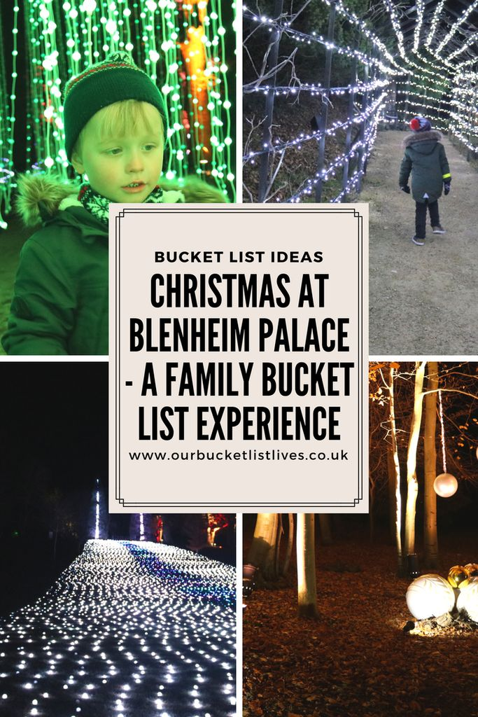 Christmas at Blenheim Palace. A family bucket list experience. Christmas at Blenheim. #christmas #blenheimpalace #christmaslights #travel #familytravel