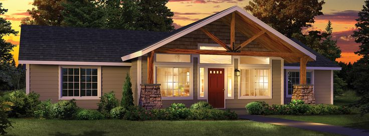 Timber frame porch included on some plans or customize for Timber frame ranch home plans