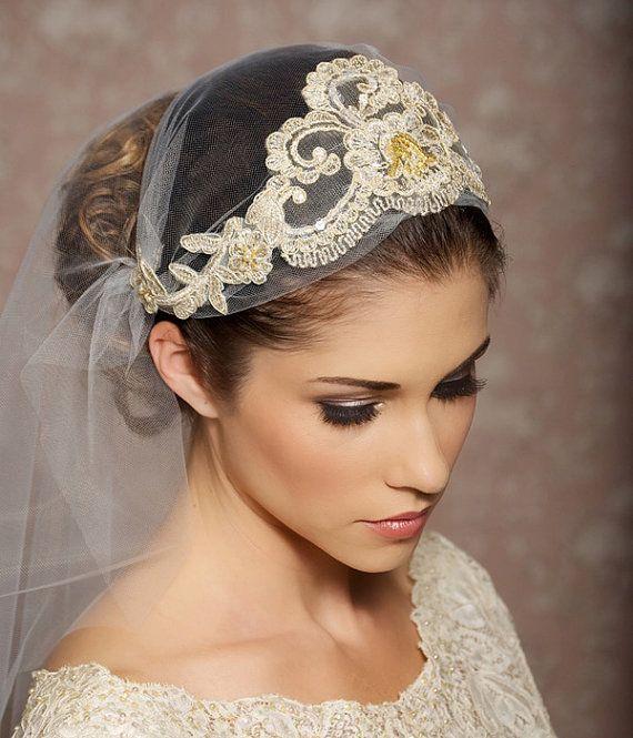 Juliet Cap Veil Gold Lace Veil Lace Bridal Cap Tulle Veil Juliet Veil Floral Art Deco Veil - Made to Order - ODETTE