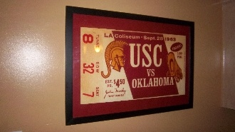 In 1963, Bud Wilkinson's last Oklahoma team traveled to Los Angeles and beat # 1 USC  by a score of 17-12 in 100 degree heat. http://www.shop.47straightposters.com/Oklahoma-Football-Tickets-OU-OSU-Tulsa-Tickets_c17.htm