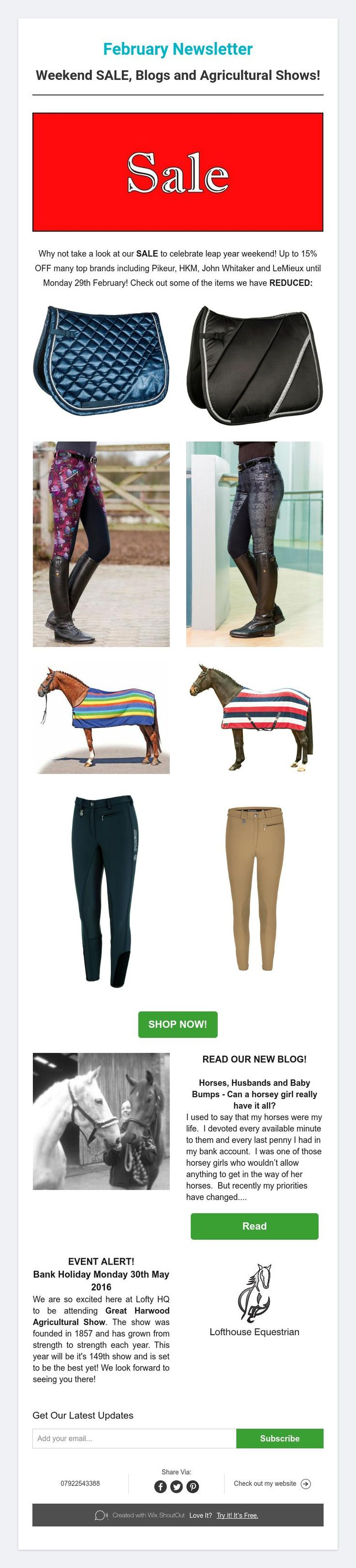 February Newsletter from Lofthouse Equestrian; Weekend SALE, Blogs and Agricultural Shows! #LofthouseEquestrian