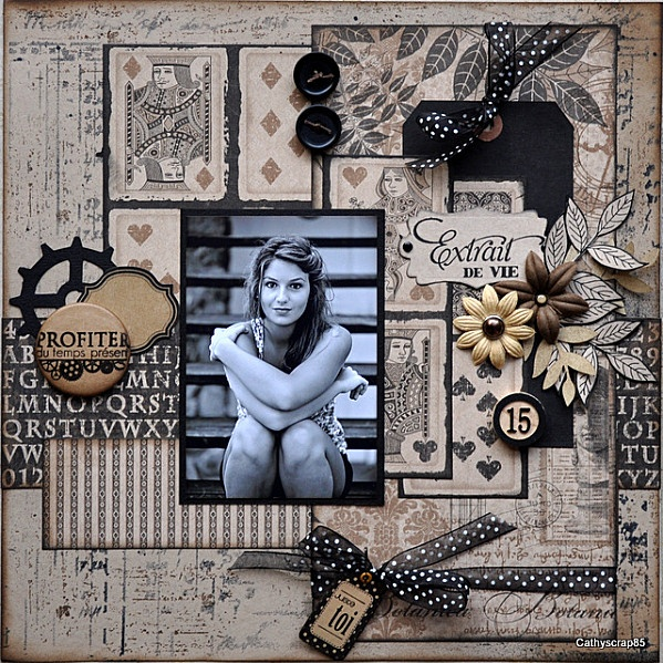 scrapbook black and whit with neutral tones by cathyscrap