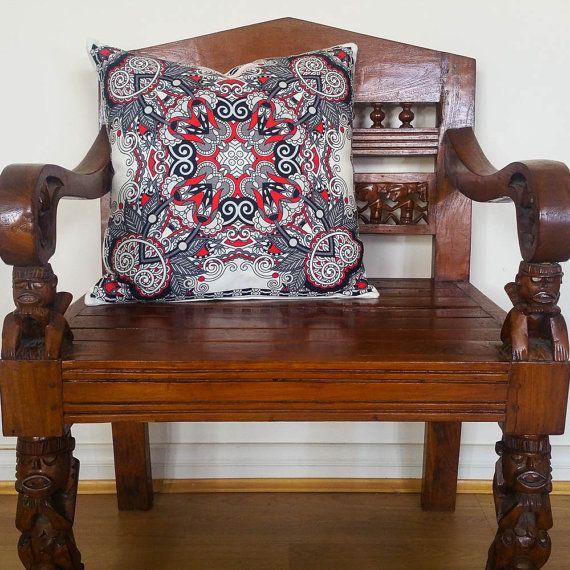 Black White and Red Cushion Mandala Pillow by CannabisInteriors