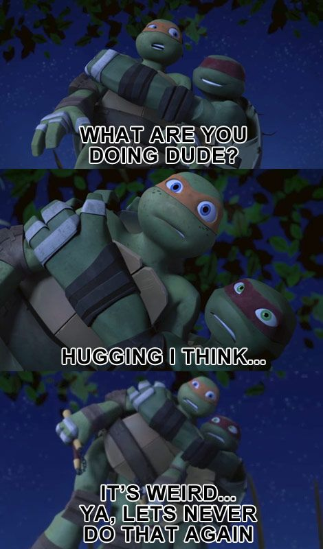 What Are You Doing Dude? Hugging I Think... #tmnt #mikey #raphael