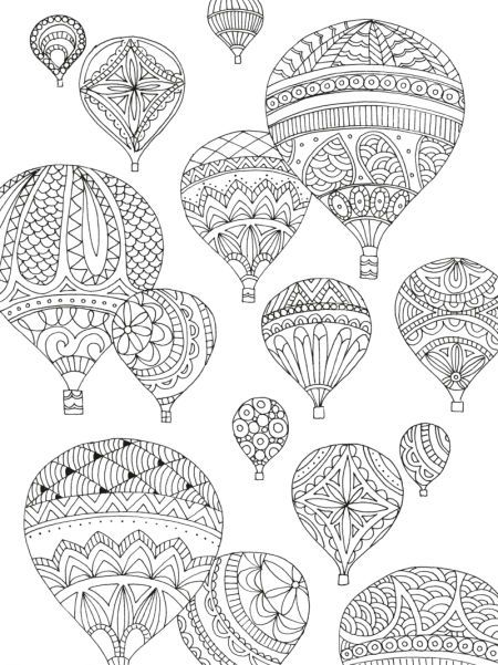 91 best Adult ColouringHot Air Balloons images on Pinterest