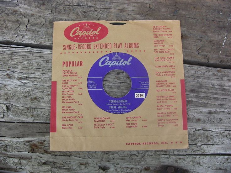 Vintage Single 45 Record Frank Sinatra Young At Heart Capitol Records F2703 #1950s