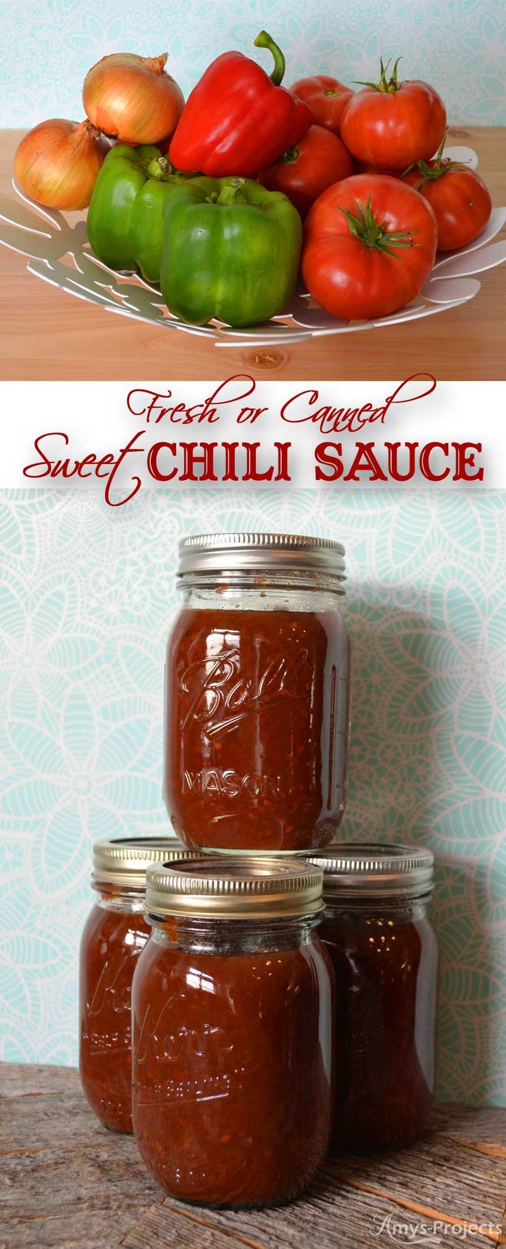 Delicious recipe for fresh or canned sweet chili sauce. We love chili sauce on our meatloaf and in baked beans.