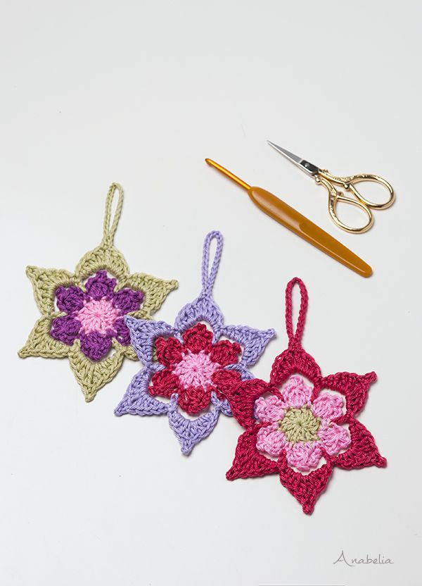 Crochet Christmas Star ornament pattern, Anabelia Craft Design ...
