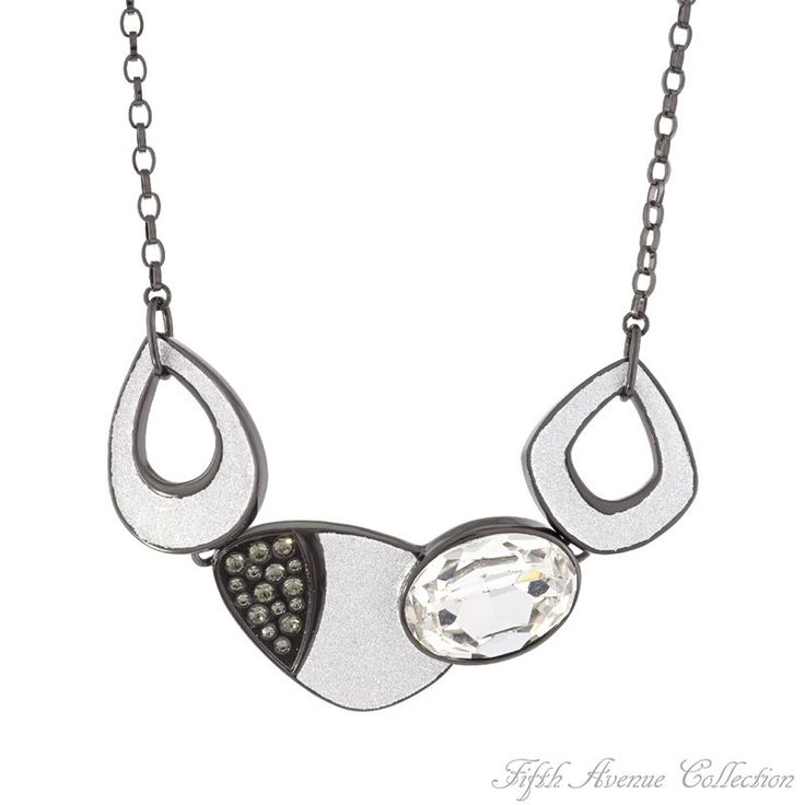 "17"" Ruthenium Neckpiece,Black Diamond-Fifth Avenue Collection Australia,beautiful jewellery,beautiful people,beautiful life"