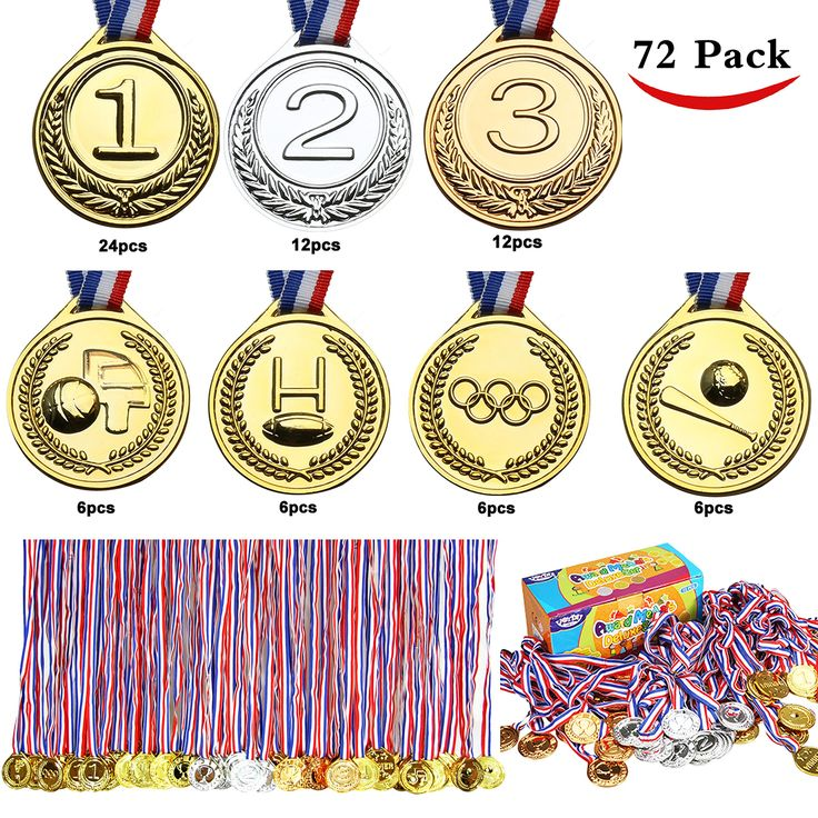 Joyin Toy 72 PCs Gold Medals for Party Favors, Classroom Rewards, Game Prizes (Gold, Silver, Bronze, Football, Basketball, Baseball and Olympic Award Medals)
