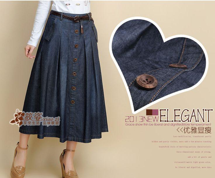 Cheap Envío gratis 2014 verano nueva de medio cuerpo denim falda fresca de moda faldas de jean largas blue jeans casuales de la falda con la correa, Compro Calidad Faldas directamente de los surtidores de China: