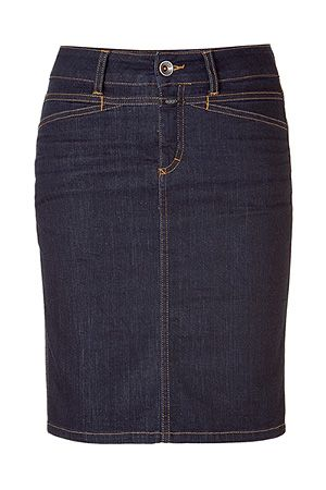 dark denim skirt, either straight or pencil from skirt sloper. No pockets, buttons or fly, though. just a side zip and yoke