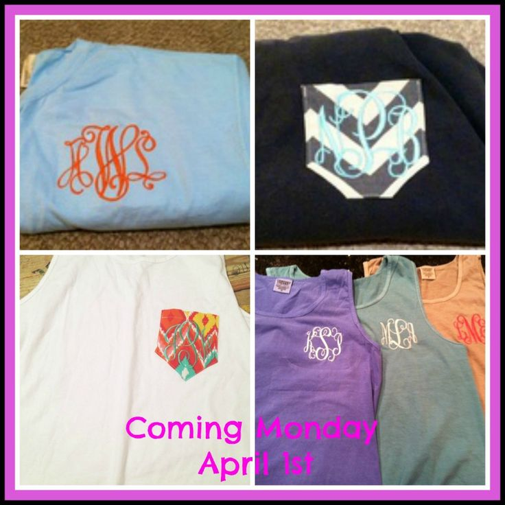 A coastal must have for spring and summer! We love comfort colors tees and tanks! Pick your style! Plain monogrammed initials for those who like simple and basic or adding a pocket with your initials! We have lots of pocket fabric to choose from! These will be at both locations!