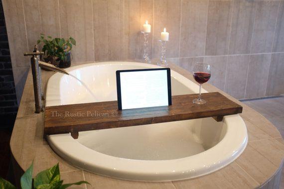 Rustic Bathtub Tray  Wooden Tray  Bath Tray  IPad Tray