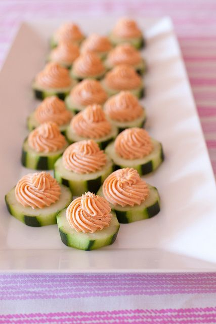 Cucumber Bites with Salmon Mousse {Annie's Eats}
