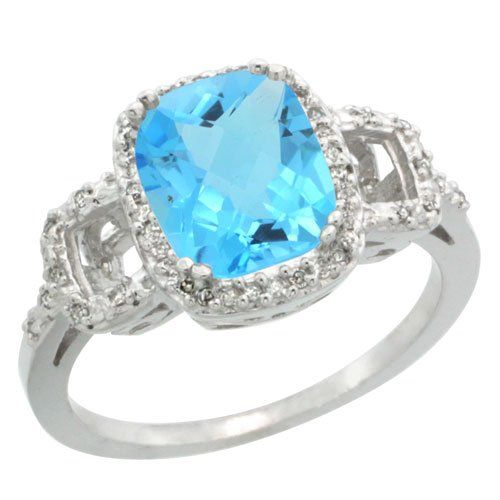 Sterling Silver Diamond Natural Swiss Blue Topaz Ring Cushion-cut 9x7mm, 1/2 inch wide: