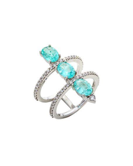 Shop Stacked Paraiba Tourmaline & Diamond Ring, Size 7