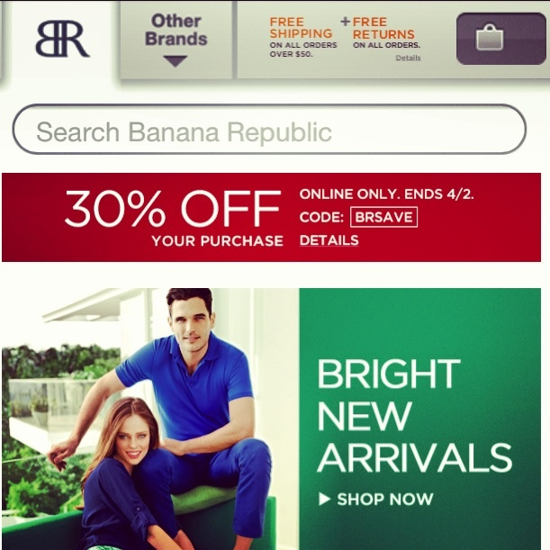 Deal Alert (US): Banana Republic  30% Off Your Purchase, Online Only Ends April 2, 2013. Happy Shopping! #deal #alert #bananarepublic #online #shopping #savings #sale #clothing #fashion