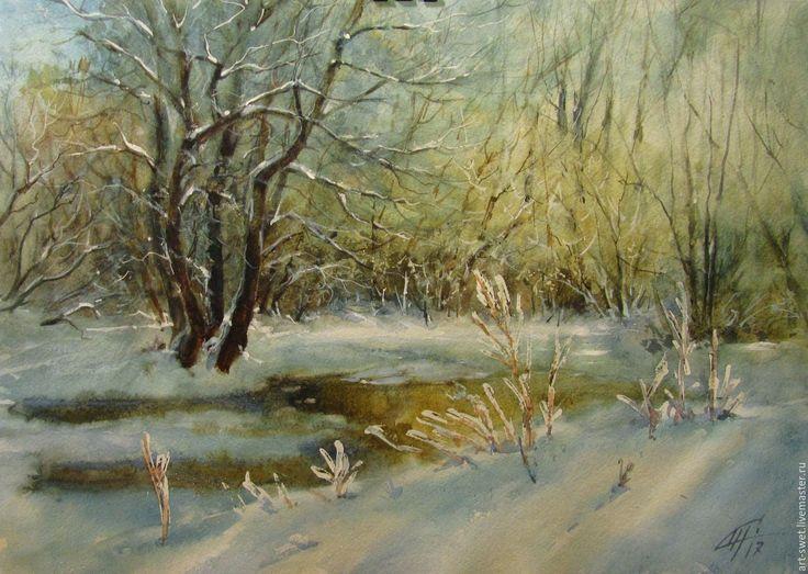 Купить Оттепель - голубой, живопись акварелью, картина, авторская работа, акварельный пейзаж, зима 2017
