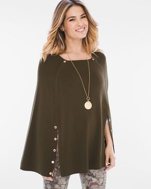 Button-Detail Poncho