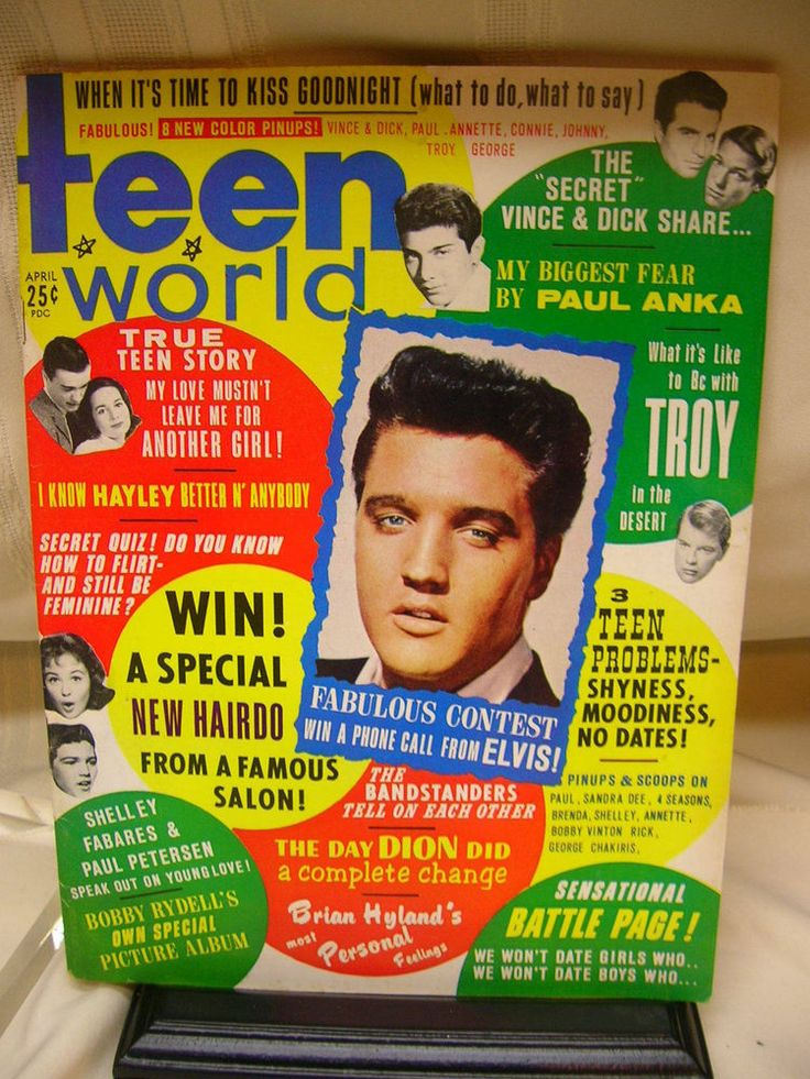 Vtg 1963 Teen World Magazine Elvis Presley Paul Anka Connie Stevens Brenda Lee #TeenWorld