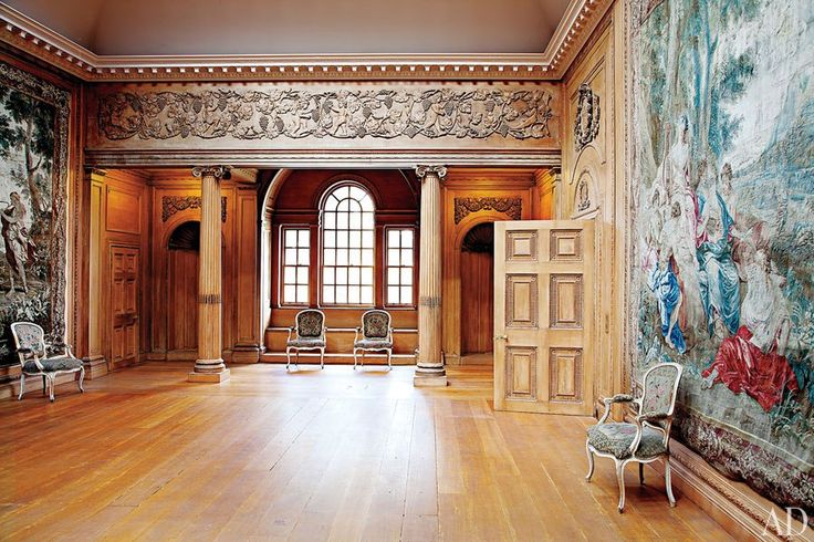 The Tapestry Room, completed in 1908 by Schultz and paneled in bleached American walnut, was designed to house four circa-1700 Gobelins weavings presented by Louis XIV to an ancestor of the seventh Marquess of Bute, former owner of Dumfries House.