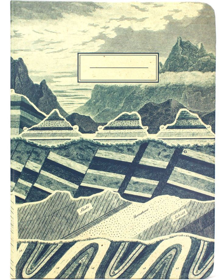 The Test The Original Hardcover Notebook Here's a vintage diagram of geologic mapping in blue ink on a manila background. The cross-section of the earth's mantle features geological strata with faults