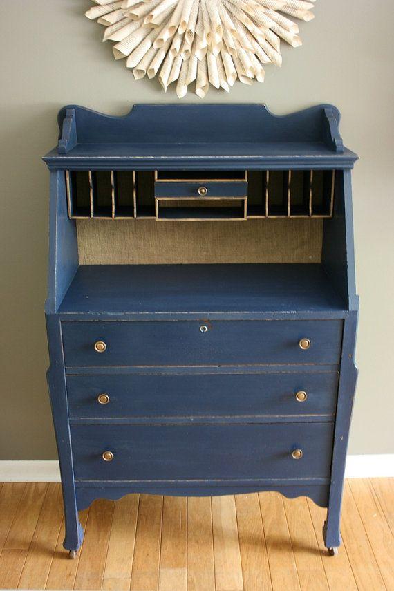25 best ideas about antique secretary desks on pinterest for Navy blue painted furniture