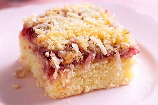 Raspberry Coconut Slice - This recipe was an inspiration because it gave me the idea of mixing coconut with another ingredient, in this case, raspberry.