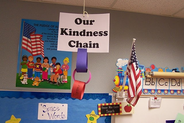 Paper chain with links saying how students met classroom/school-wide expectations. Great for group or partner work!
