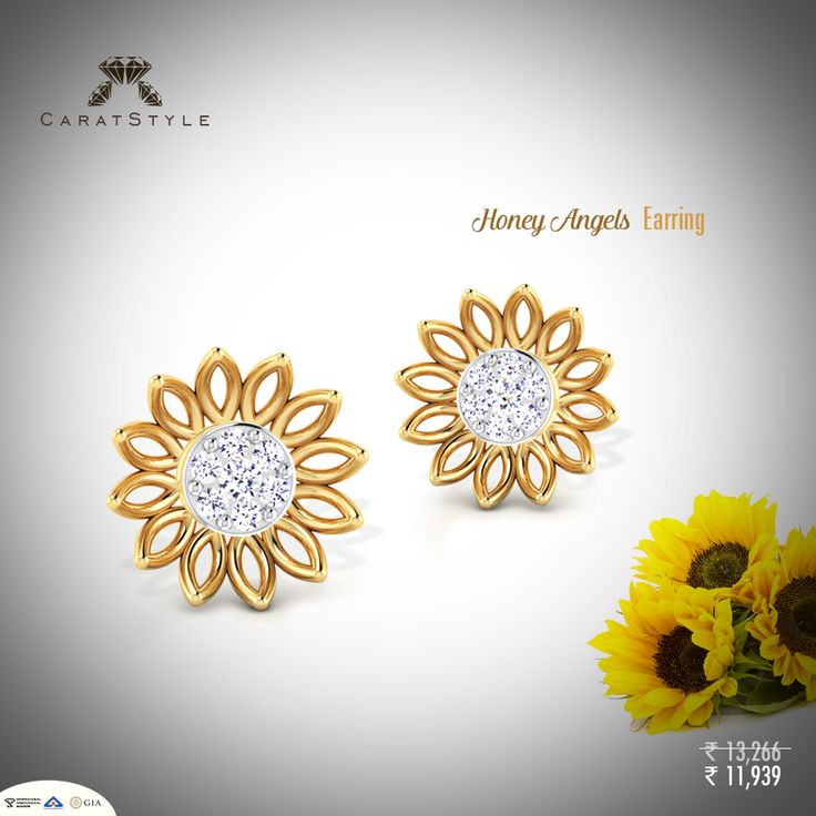 Diamond studs set on a golden flower are apt summer ‪‎jewellery‬. #gold #diamond…