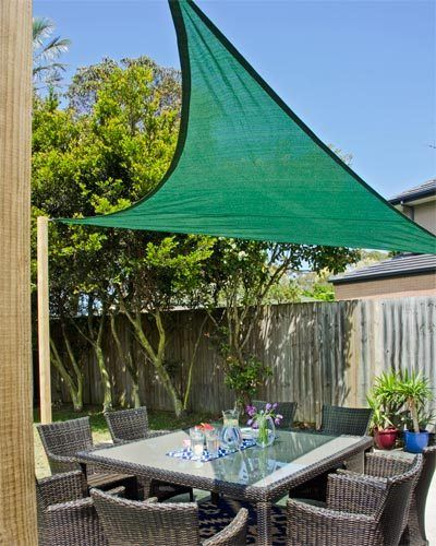 How to make an outdoor shade sail: Ideal for outdoor entertainment areas, but not over barbecues, shade sails are semi-permanent structures. You can install a basic sail by putting in posts or attaching it to a suitable structural part of the house. Make sure the sail is high enough, as it needs a slope to shed leaves. They come in a range of materials, sizes and prices, and can be unclipped over winter.