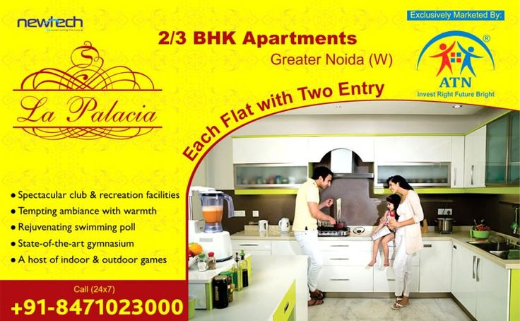 ATN Infratech introduces bookings in the luxury Newtech La Palacia Noida Extension. Book your dream abode choosing from the luxury residential projects offering 2/3 BHK apartments in Noida Extension equipped with lavish amenities.