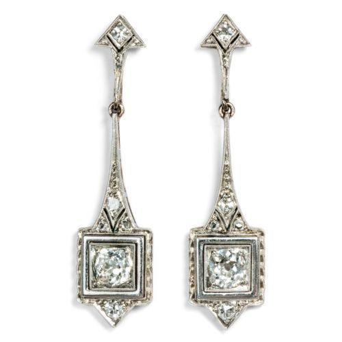 Art-Deco-um-1925-Antike-Diamant-Ohrringe-Platin-Diamanten-Schrauben-Brillanten