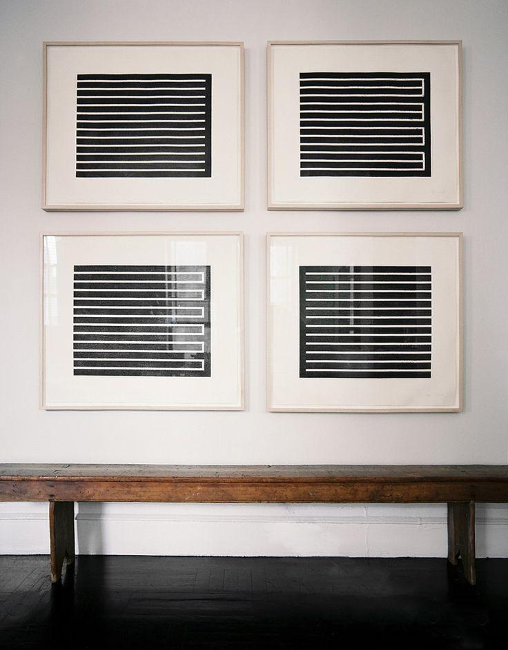 Midcentury artwork by Donald Judd in modern frames