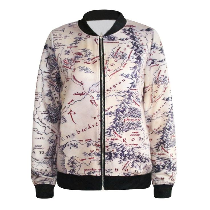 Fashion Lord of The Rings Jacket Middle Earth Map Punk Women Jacket 3D Floral Print Heart Breaker Printed Casual Sweatshirt
